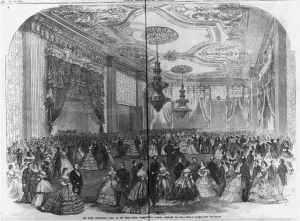 The grand [Lincoln] presidential party at the White House, Washington, D.C. February 6th [1862] (Illus. in: Frank Leslie's Illustrated Newspaper, (1862 February 22), p. 216-17; LOC:  LC-USZ62-59906)