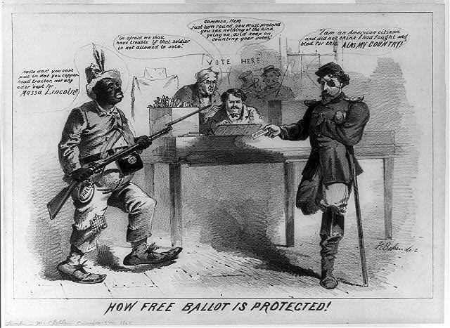 How free ballot is protected! (by Joseph E. Baker, 1864; LOC: LC-USZ62-89606)