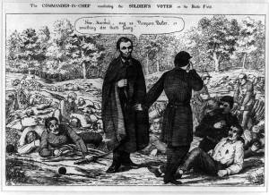 The Commander-in-Chief conciliating the soldier's votes on the battle field (1864; LOC:  LC-USZ62-89731)