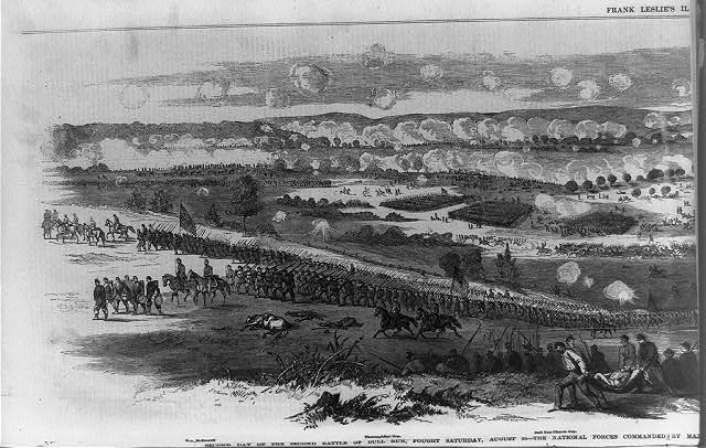 Second day of the second battle of Bull Run, fought Saturday, August 30--the National forces commanded by Major General Pope, and the rebel troops by General Lee, Jackson and Longstreet (Illus. in: Frank Leslie's illustrated newspaper, 1862 Sept. 20, pp. 412-413; LOC: LC-USZ62-94838)