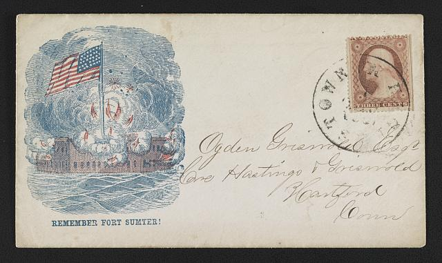 """Civil War envelope showing American flag flying high over a burning Fort Sumter with message """"Remember Fort Sumter! (between 1861 and 1865]; LOC:  LC-DIG-ppmsca-31709)"""
