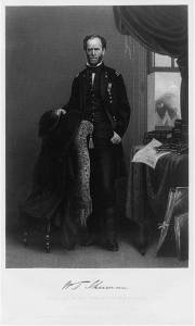 William Tecumseh Sherman, full-length portrait, facing front, right hand holding hat on back of chair (c. 1868; LOC: LC-USZ62-92344)
