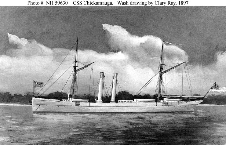 CSS Chickamauga (1864-65)  Wash drawing by Clary Ray, 25 June 1897. This ship was originally the blockade running steamer Edith.  Courtesy of the Navy Art Collection, Washington, D.C.  U.S. Naval Historical Center Photograph.