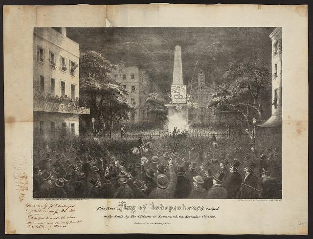 The first flag of independence raised in the South, by the citizens of Savannah, Ga. November 8th, 1860 (Savannah, Ga. : s.n., 1860; LOC: LC-DIG-ppmsca-19610)
