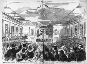 Great mass meeting to endorse the call of the Legislature of South Carolina for a state convention to discuss the question of secession from the Union, held at Institute Hall, Charleston, S.C., on Monday, Nov. 12, 1860 (Illus. in: Frank Leslie's illustrated newspaper, vol. 11, no. 261 (1860 Nov. 24), pp. 8-9; LOC: LC-USZ62-62193)