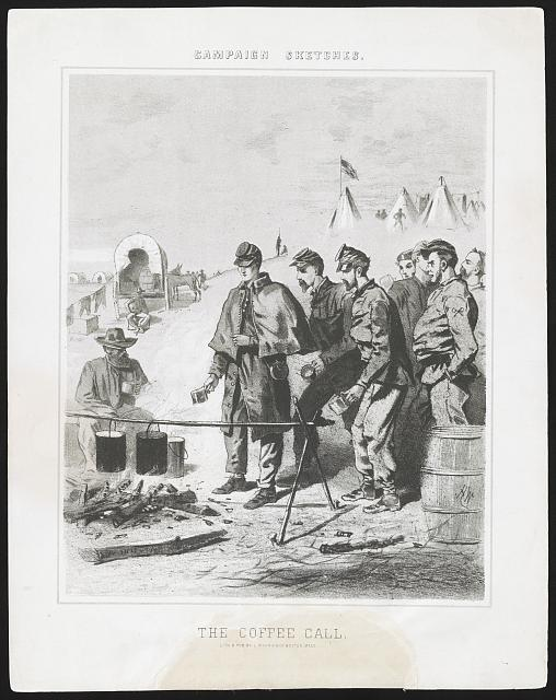 Campaign sketches. The coffee call (by Winslow Homer, Boston, Mass. : Lith. & pub. by L. Prang & Co., [1863]; LOC:LC-DIG-pga-03007)