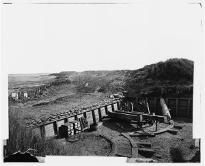 Fort Fisher, N.C. View of the land front, showing destroyed gun carriage in second traverse (by Timothy H. O'Sullivan, Jan. 1865; LOC: LC-DIG-cwpb-03746)