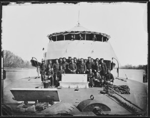 "Crew on monitor ""Saugus"", James River, ca. 1860 - ca. 1865  (National Archives)"
