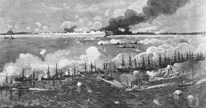 "Fort_Fisher_Bombardment (Engraving by T. Shussler, after an artwork by J.O. Davidson, published in ""Battles and Leaders of the Civil War"". U.S. Naval Historical Center Photograph)"