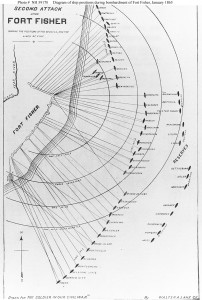 """Second Attack upon Fort Fisher, showing the positions of the vessels, and the lines of fire"", 13-15 January 1865  Chart by Walter A. Lane, published in ""The Soldier in our Civil War"", Volume II. The positions of 58 ships are represented on the chart.  U.S. Naval Historical Center Photograph."