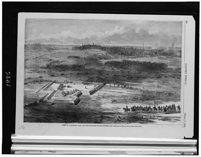 View of Petersburg from the signal-station on our extreme left (by Horace Heath, Illus. in: Harper's weekly, 1865 March 11, p. 148.; LOC: LC-USZ6-1896)