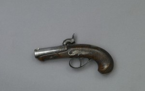 [Derringer gun John Wilkes Booth used to assassinate Abraham Lincoln.] Artifact in the museum collection, National Park Service, Ford's Theatre National Historic Site, Washington, D.C.  (LOC: http://www.loc.gov/item/2010630695/)