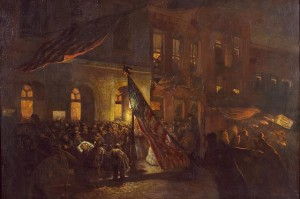 Oil Painting of Mortally Wounded Abraham Lincoln Moved from Ford's Theatre (Oil painting of mortally wounded Abraham Lincoln as he is moved from Ford's Theatre, Washington, D.C. (Photographs in the Carol M. Highsmith Archive, Library of Congress, Prints and Photographs Division.)