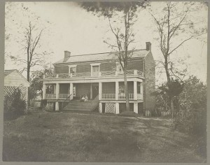 McLean's House, Appomattox, Va. Scene of Lee's surrender (by Timothy H. O'Sullivan, Appomattox Court House, Va., April 1865. Wilbur McLean house; LOC: LC-DIG-ppmsca-35137)