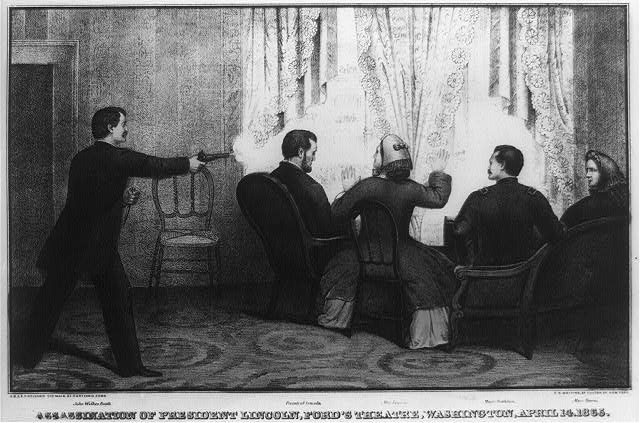 Assassination of President Lincoln, Ford's Theatre, Washington, April 14, 1865 (LOC: LC-USZ62-4608)