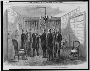 Andrew Johnson taking the oath of office in the small parlor of the Kirkwood House [Hotel], Washington, [April 15, 1865] (Illus. in: Frank Leslie's illustrated newspaper, v. 21, 1866 Jan. 6, p. 245.)