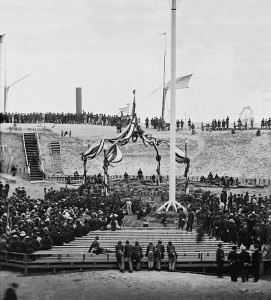 """""""Charleston, South Carolina. Flag-raising ceremony at Fort Sumter. Arrival of Gen. Robert Anderson and guests"""" (Library of Congress)"""
