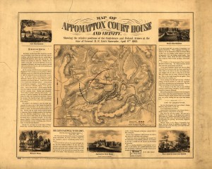 Map of Appomattox Court House and vicinity. Showing the relative positions of the Confederate and Federal Armies at the time of General R. E. Lee's surrender, April 9th 1865.  (http://www.loc.gov/item/99439220/)