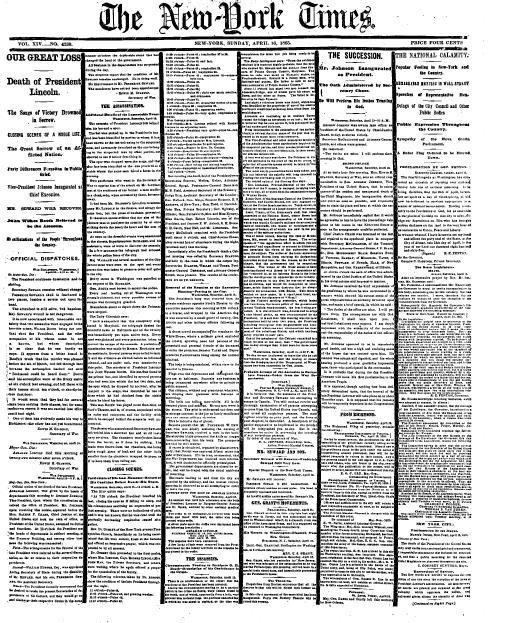 NY Times 4-16-1865