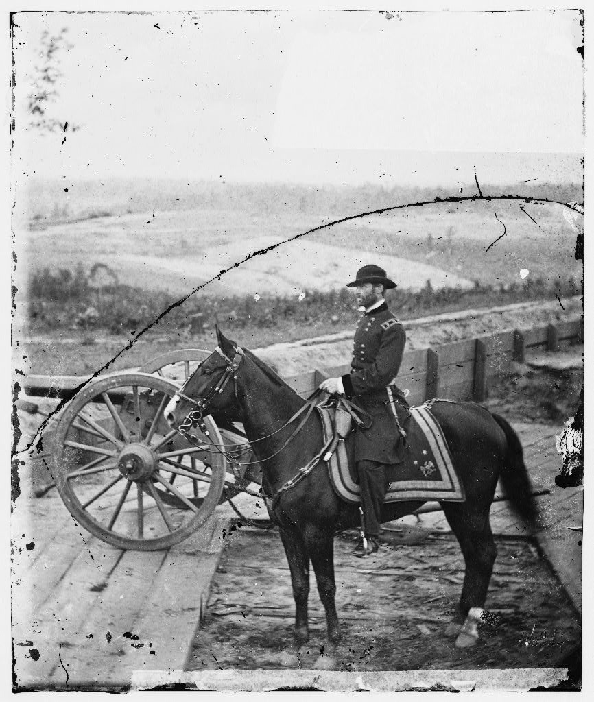 Atlanta, Ga. Gen. William T. Sherman on horseback at Federal Fort No. 7 (by george N. Barnard, 1864; LOC: LC-DIG-cwpb-03628)
