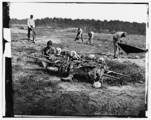 [Cold Harbor, Va. African Americans collecting bones of soldiers killed in the battle] (April 1865; LOC: http://www.loc.gov/item/cwp2003000494/PP/)