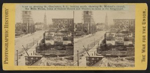 View on Meeting St., Charleston, S.C., looking south, showing St. Michael's church, the Mills House, ruins of Central Church and Theatre in ruins in the foreground (by George N. Barnard, 1865; LOC:  LC-DIG-stereo-1s02442)