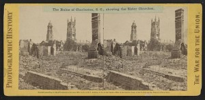 The ruins of Charleston, S.C., showing the Sister Churches (Copyright by E. & H.T. Anthony & Co. in 1865.; LOC: LC-DIG-stereo-1s02464)