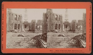 Ruins of Secession Hall, Charleston, S.C. (by george N. barnard, 1865; LOC: LC-DIG-stereo-1s02493)