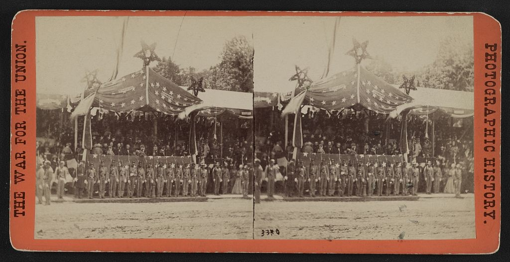 Grand review of the great veteran armies of Grant and Sherman at Washington, on the 23d and 24th May, 1865. The Army of the Potomac. The stand in front of the President's house occupied by the President and cabinet, Grant and Sherman, and reviewing officers  (LOC: http://www.loc.gov/item/2011661095/)