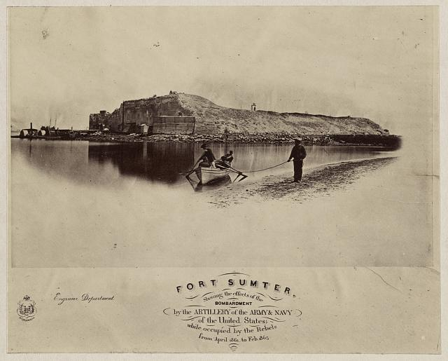 Fort Sumter, showing the effects of the bombardment by the artillery of the Army & Navy of the United States; while occupied by the rebels from April, 1861 to Feb., 1865 (1865; LOC: LC-DIG-ppmsca-35220)