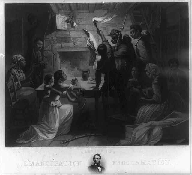 Reading the Emancipation Proclamation / H.W. Herrick, del., J.W. Watts, sc. (1864; LOC: http://www.loc.gov/item/2003678043/)