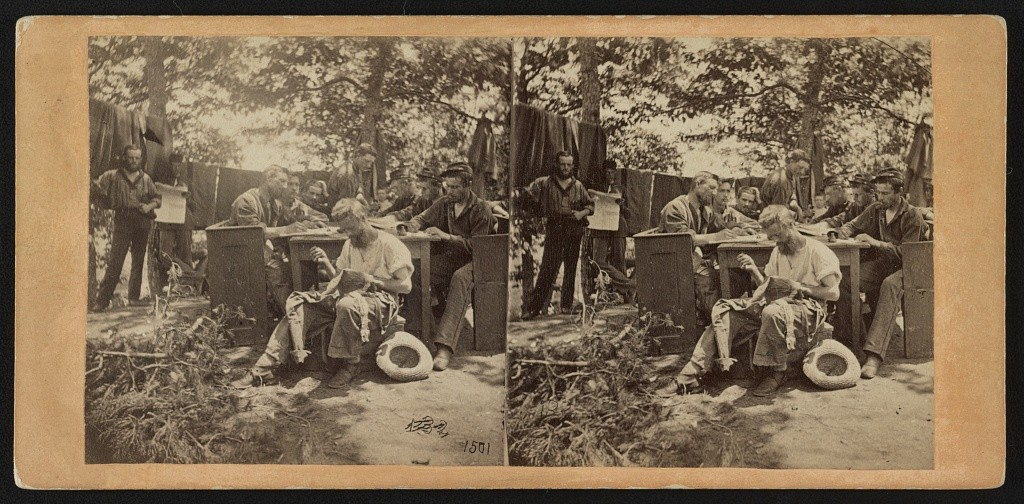 """War views. No. 1501, Camp life, Army of the Potomac - writing to friends at home "" (LOC: http://www.loc.gov/item/2012649696/)"