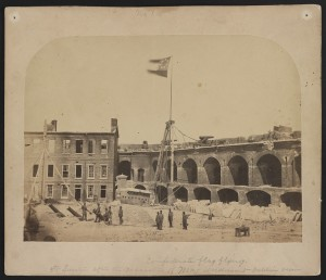 Confederate flag flying. Ft. Sumter after the evacuation of Maj. Anderson - interior view  (4-15-1865; LOC: http://www.loc.gov/item/2011645052/)