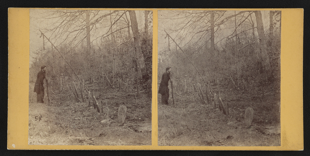 Soldier's graves of the 5th A.C. (i.e. Army Corps) Wilderness battle field (by G. O. Brown, Baltimore, MD : American Scenery (Stereoscopic) 267 West Lexington St., [1865]; LOC: http://www.loc.gov/pictures/item/2015647105/)