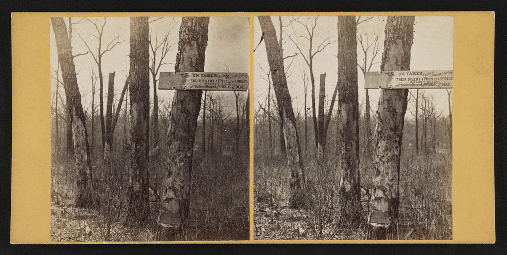 Rebel grounds, near triangle of death. Wilderness field (by G. O. Brown, Baltimore, MD : American Scenery (Stereoscopic) 267 West Lexington St., [1865]; LOC: http://www.loc.gov/pictures/item/2015647112/)