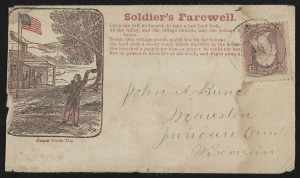 """Civil War envelope showing a soldier waving goodbye to people on a porch with message """"Soldier's farewell"""" and verses from a song (between 1861 and 1865; LOC: http://www.loc.gov/item/2011648678/)"""