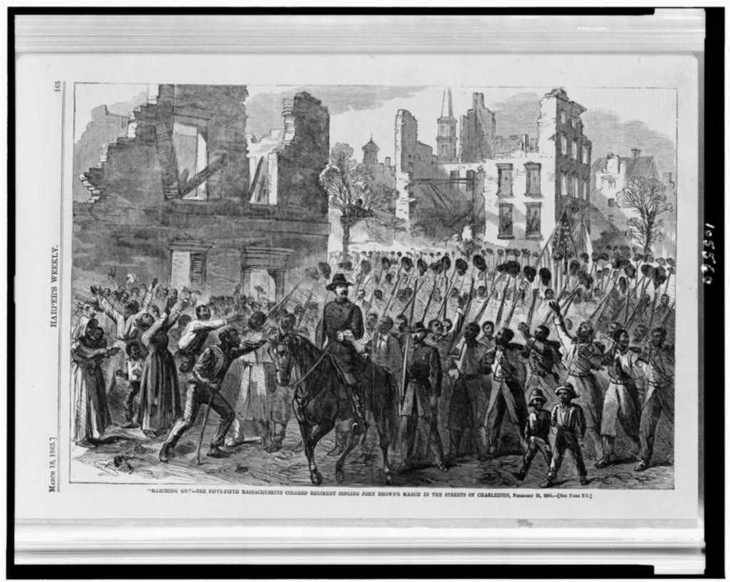"""""""Marching on!""""--The Fifty-fifth Massachusetts Colored Regiment singing John Brown's March in the streets of Charleston, February 21, 1865  (Illus. in: Harper's weekly, v. 9, 1865 March 18, p. 165. ; LOC: http://www.loc.gov/item/92515015/)"""