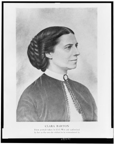 Clara Barton - from portrait taken in Civil War and authorized by her as the one she wished to be remembered by (1890; LOC: http://www.loc.gov/item/93513623/)
