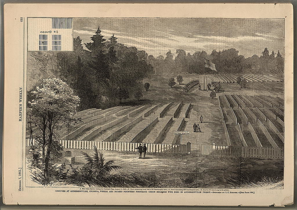 Grounds at Andersonville, Georgia, where are buried fourteen thousand Union soldiers, who died in Andersonville Prison / sketched by I.C. Schotel.(harper's Weekly, 10-7-1865; LOC: http://www.loc.gov/item/92500082/)