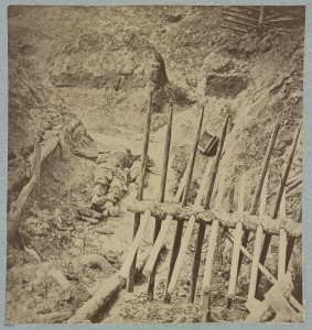 Dead Confederate soldier in trenches of Fort Mahone in front of Petersburg, Va., April 3, 1865  (LOC: http://www.loc.gov/item/2012647837/)