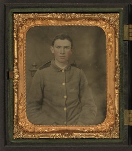 Private W.T. Harbison of Company B, 11th North Carolina Infantry Regiment (between 1861 and 1865; LOC: http://www.loc.gov/item/2010650213/)
