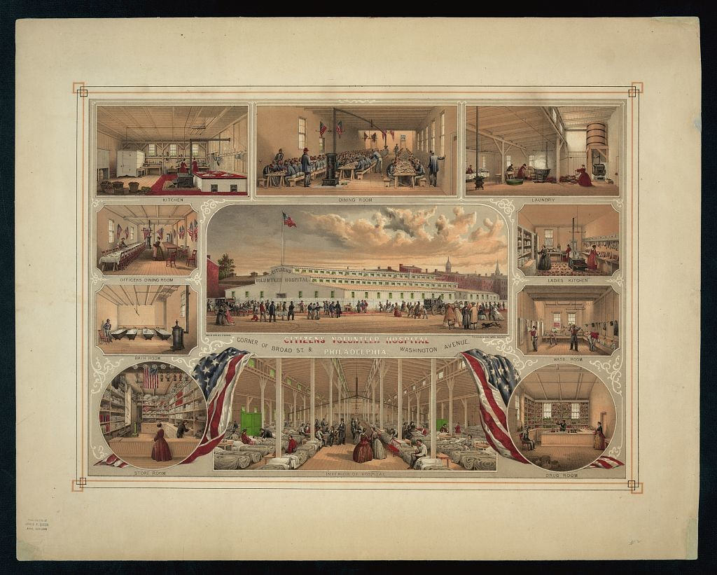 Citizens Volunteer Hospital Philadelphia / des. & lith. by J. Queen ; P.S. Duval & Son Lith. Philada. (ca.1862; LOC: http://www.loc.gov/item/98519871/)