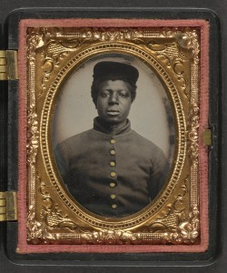 Unidentified young African American soldier in Union uniform ([between 1863 and 1865); LOC: http://www.loc.gov/item/2010648773/)