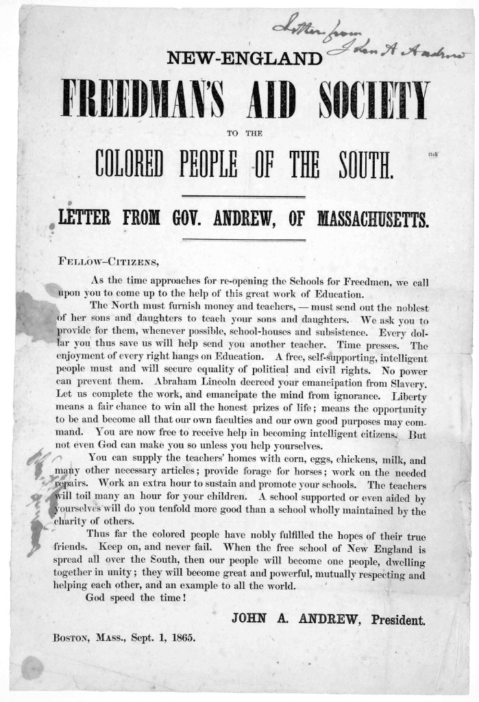 Freedman's Aid 9-1-1865 New England Freedman's aid society to the colored people of the South. Letter from Gov. Andrew, of Massachusetts. Fellow-Citizens ... Boston, Mass. Sept. 1, 1865. (LOC: http://www.loc.gov/item/rbpe.07104100/)