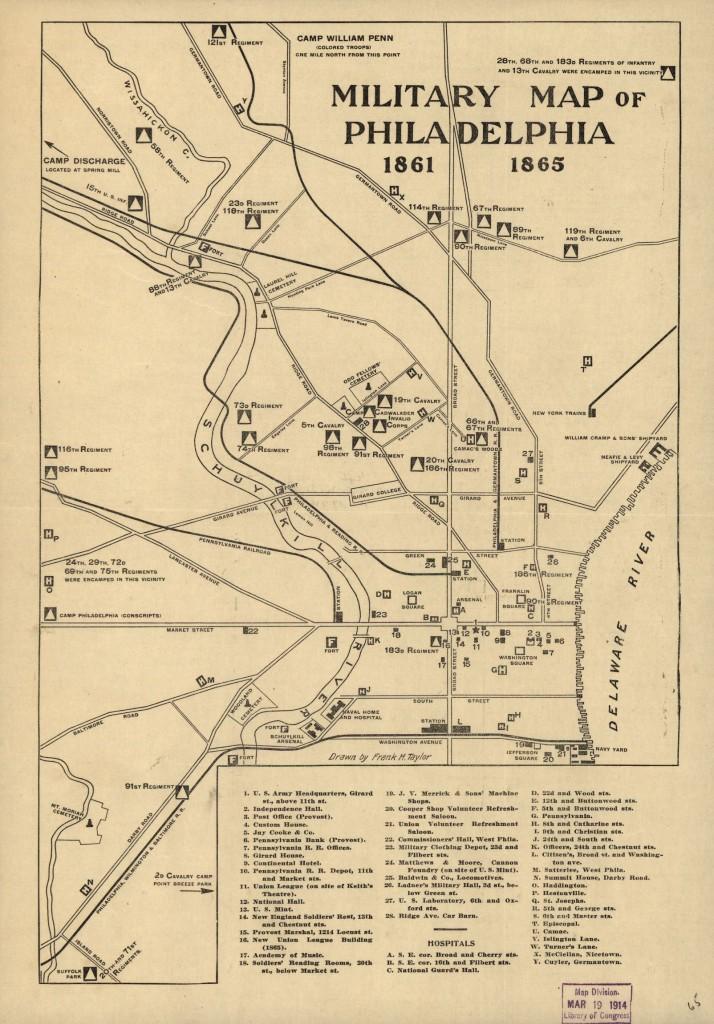 Military map of Philadelphia 1861-1865 (c.1914; LOC: http://www.loc.gov/item/99448800/)