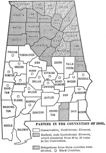 Parties in 1865 Convention (Civil War and Reconstruction in Alabama page 359)