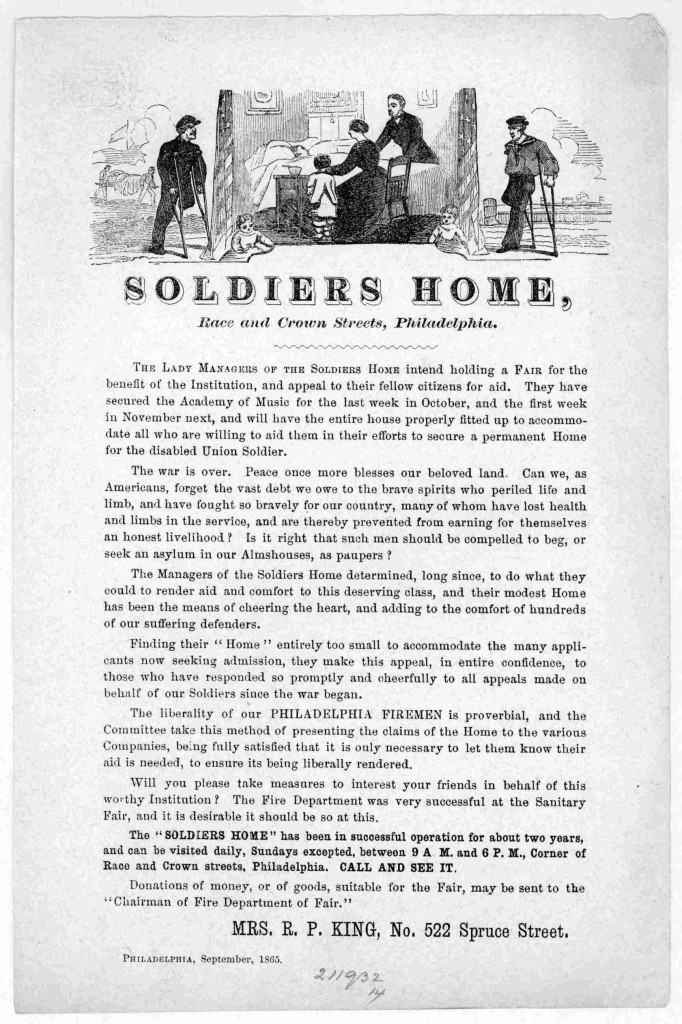 philsoldiershomesep65 The lady managers of the Soldiers Home intend holding a fair for the benefit of the Institution, and appeal to their fellow citizens for aid ... Philadelphia, September 1865. (1865; LOC: http://www.loc.gov/item/rbpe.15900500/)