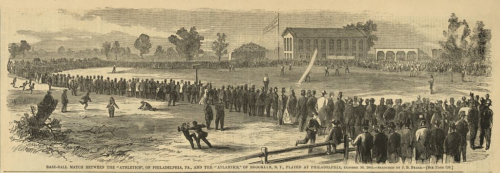 """Base-ball match between the """"Athletics"""", of Philadelphia, Pa., and the """"Atlantics"""", of Brooklyn, N.Y., played at Philadelphia, October 30, 1865 / sketched by J.B. Beale. (Harper's Weekly, 11-18-1865; LOC: http://www.loc.gov/item/2008676717/)"""