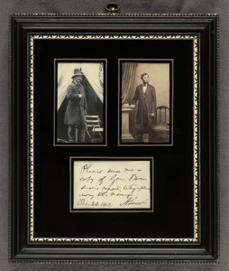 [Framed photographs of General Ambrose Everett Burnside and Abraham Lincoln with a manuscript signed note in Lincoln's hand.] (M Brady, December 22, 1862 ; LOC: http://www.loc.gov/item/scsm001051/)