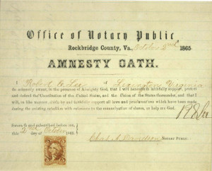 Lee's Amnesty Oath (http://www.archives.gov/publications/prologue/2005/spring/piece-lee.html)